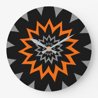 The Blooming Expanse:  Black and Orange Large Clock