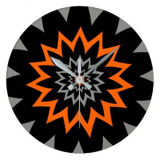 The Blooming Expanse:  Black and Orange Wallclock