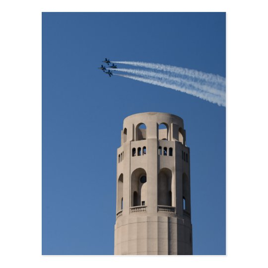 The Blue Angels Fly by Coit Tower Postcard