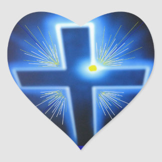 The blue backlit Cross. Heart Sticker
