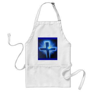 The blue backlit Cross. Standard Apron