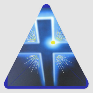 The blue backlit Cross. Triangle Sticker