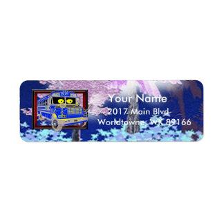 The Blue bus fantasy forest Return Address Label