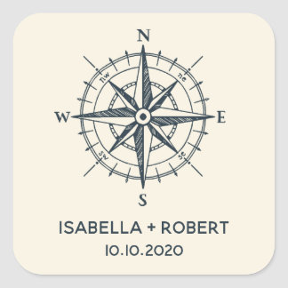 The Blue Compass | Wedding Monogram Square Sticker
