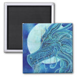 The blue dragon square magnet by Renee