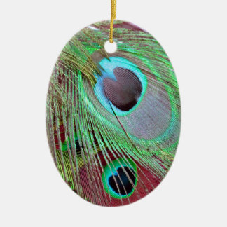 The Blue Eye peacock flowing feather. Ceramic Ornament