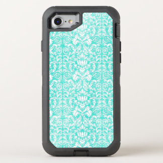 The Blue Green Floral Damask Aged Print Pattern OtterBox Defender iPhone 8/7 Case