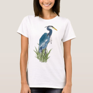 The Blue Heron In Tall Green Grass T-Shirt