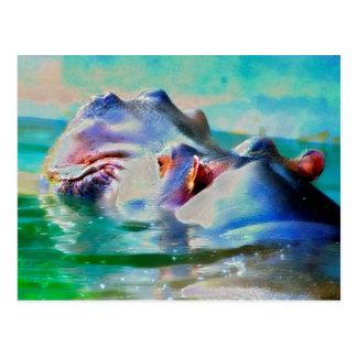 The blue Hippo Postcard