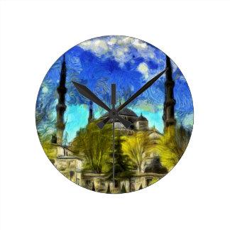 The Blue Mosque Istanbul Van Gogh Round Clock
