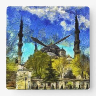 The Blue Mosque Istanbul Van Gogh Square Wall Clock
