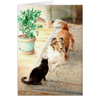 """The Blue Rug"" - Sheltie & Cat Card"