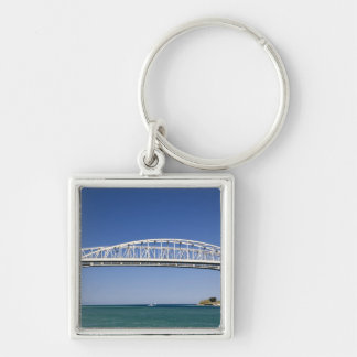 The Blue Water Bridge is a twin-span bridge Silver-Colored Square Keychain