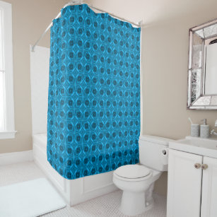 The Blues Kaleidoscope Vintage Shower Curtain