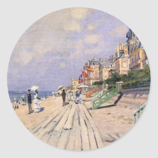 The Boardwalk at Trouville Claude Monet Classic Round Sticker