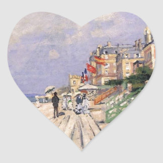 The Boardwalk at Trouville Claude Monet Heart Sticker