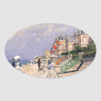 The Boardwalk at Trouville Claude Monet Oval Sticker