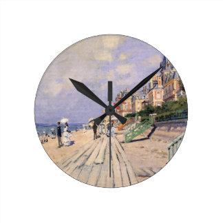 The Boardwalk at Trouville Claude Monet Round Clock