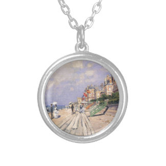 The Boardwalk at Trouville Claude Monet Silver Plated Necklace