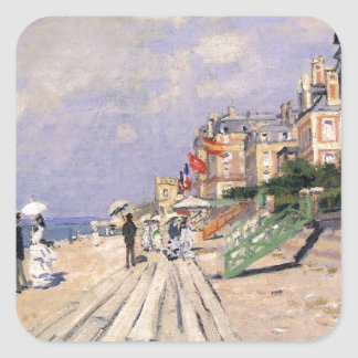 The Boardwalk at Trouville Claude Monet Square Sticker