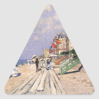The Boardwalk at Trouville Claude Monet Triangle Sticker