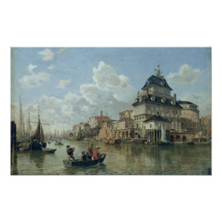 The Boat House at Hamburg Harbour, 1850 Poster