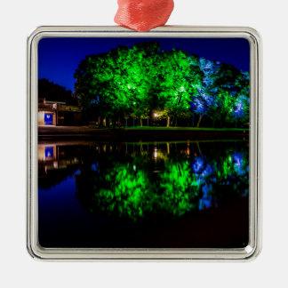 The Boathouse Silver-Colored Square Ornament