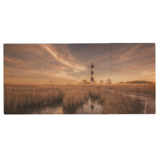 The Bodie Island Lighthouse  At Sunset Wood USB Flash Drive