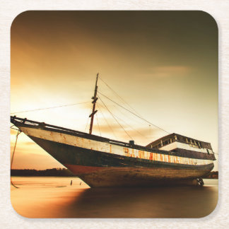 The Body Of Old Ship   Bali, Indonesia Square Paper Coaster