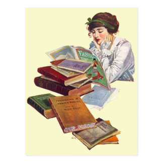 The Bookworm Reading A Fashion Magazine Postcard