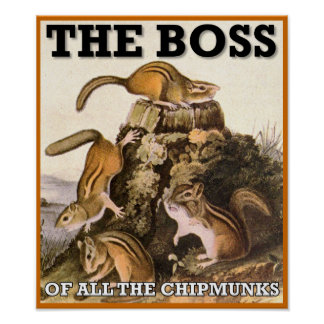 The Boss Of All The Chipmunks Poster Sign