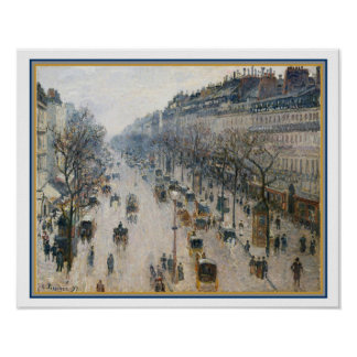 """""""The Boulevard Montmartre"""" by Camille Pissarro Poster"""