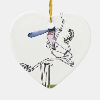 the bowler - cricket, tony fernandes ceramic heart ornament