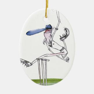 the bowler - cricket, tony fernandes ceramic oval ornament