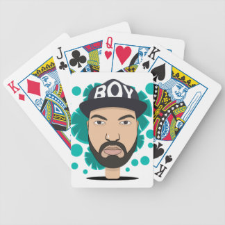 The boy bicycle playing cards