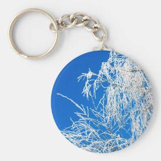 The branches of the tree during the winter basic round button keychain