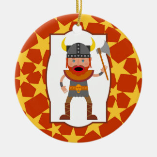 The brave viking warrior round ceramic ornament