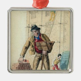 The Bricklayer's Labourer Silver-Colored Square Ornament