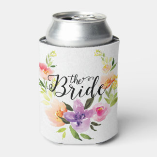 The Bride-Black Text & Colorful Floral Wreath Can Cooler