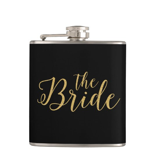 The Bride-Gold Glitter Typographical Design Hip Flask