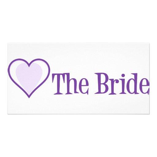 The Bride Singleheart Purple Custom Photo Card