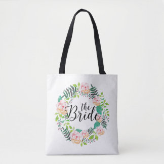 The Bride Text-Pink Roses & Green Leafs Wreath Tote Bag