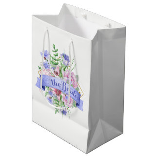 The Bride Typography-Watercolor Flowers Bouquet Medium Gift Bag