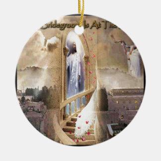 The Bridegroom is at the Door Round Ceramic Ornament