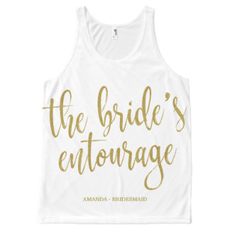 The Bride's Entourage Gold Glitter Modern Script All-Over-Print Tank Top