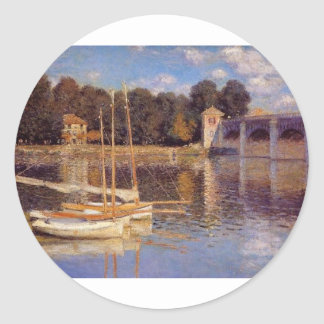 The Bridge at Argenteuil Claude Monet Classic Round Sticker