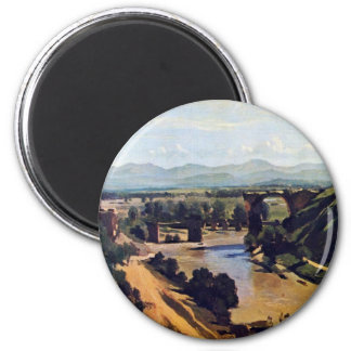 The Bridge At Narni By Corot Jean-Baptiste-Camille 2 Inch Round Magnet