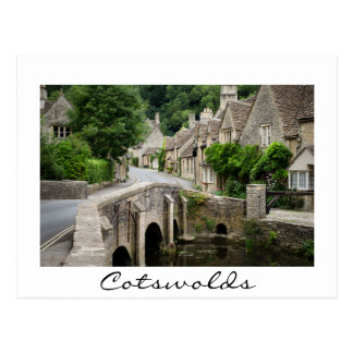 The bridge in Castle Combe, UK white border card
