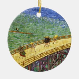 The Bridge in the Rain Vincent van Gogh fine art Round Ceramic Ornament