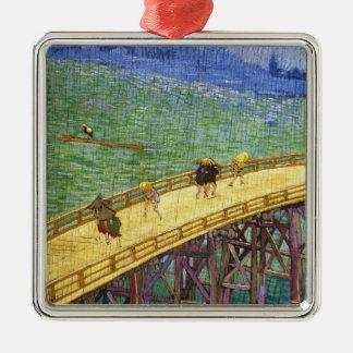 The Bridge in the Rain Vincent van Gogh fine art Silver-Colored Square Ornament